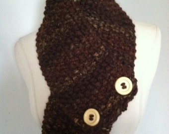Knitted cozy Bulky Brown Cowl Neck Warmer Handmade Accessories Ready To Ship