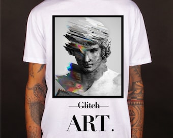 Glitch art t-shirt, Glitch art tee, top, tees, apparel, clothing, art t-shirt, art tee, glitch art, glitch tees, 100% cotton, made in Italy