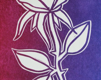 Rose and Thorns Linocut Print