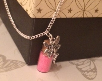 Children's Fairy Pendant with Fairy Dust (choice of colours) Necklace (Handmade)