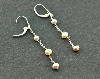 Multicolor fresh water pearls and sterling silver earrings.