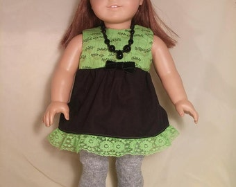 Three Piece Outfit in Lime Green and Black for American Girl Doll