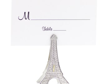 50 Eiffel Tower Place Card Holders, Table Number Assignments, Wedding Name Cards, Paris France Themed Party, Parisian Theme, Silver Towers