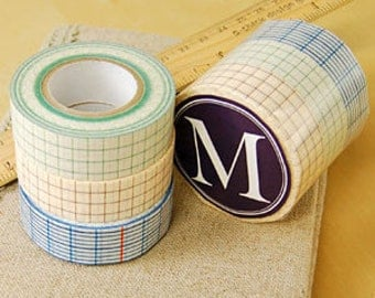 Pre-order (ships On August)  Classiky Grid Washi Tape - 12mm-18mm-45mm