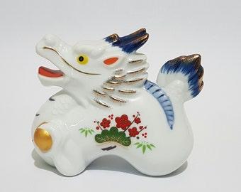 Year of the Dragon Porcelain Figurine Lucky Charm Okimono