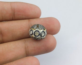 Pave Dimond SIlver  beads-All around Polki and SIngle cut Diamond - Silver spacer- Polki Diamond beads - Pave Diamond Findings