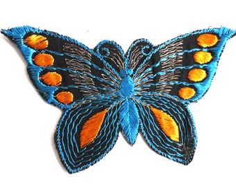 Butterfly applique, 1930s vintage embroidered applique. Vintage patch, sewing supply. Applique, Crazy quilt #5E8GA9K5D