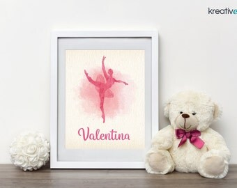 BALLERINA Wall Art Decor 8x10 PDF - Digital Print, Personalised with your little girls name! Nursery Girls Bedroom Wall Art Print