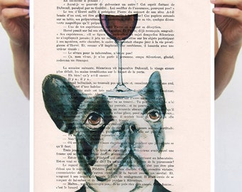 French Bulldog print, Frenchie Artwork, print from original painting by Coco de Paris: French Bulldog with wineglass