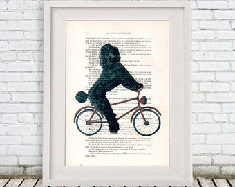 Poodle on bicycle Print, Poodle Digital Panting by Coco de Paris