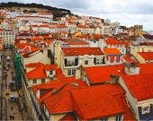 Lisbon Skyline, Portugal Photography, Lisbon Print, Fine Art Photography, Wall Art, Red Wall Decor, Cityscape, Europe - Rooftops of Lisbon