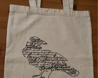 Embroidered Bag - Edgar Allan Poe - Raven