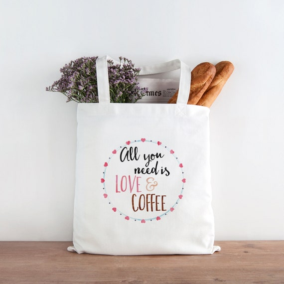 Canvas Tote Bag, Coffee Tote Bag, Love and Coffee Canvas Tote Bag, Printed Tote Bag, Market Bag, Shopping Bag, Reusable Grocery Bag 0062