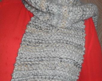 Caramel - Hand Knitted - Long Soft - Warm - Wraparound Scarf - Winter - Snow - Handmade - Neutral
