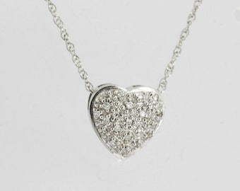 Diamond Heart Necklace Heart Pendant Heart Necklace Diamond Jewelry