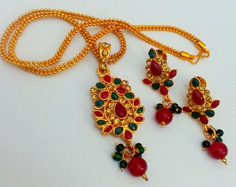 Sale Elegant Indian Jewelry Gold Plated Beads, Studded with Red, Green Polki Kundan, Brrown cz Pendant, Chain & Stud_style Earrings Set