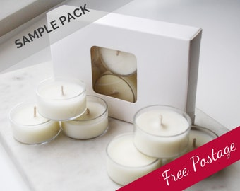 FREE POSTAGE Sample 6-Pack Scented soy wax tea-lights *choose your fragrances