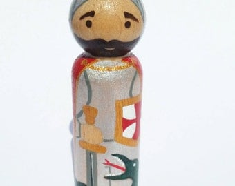 St. George Peg Doll// Knight Peg Doll// Wooden Toy