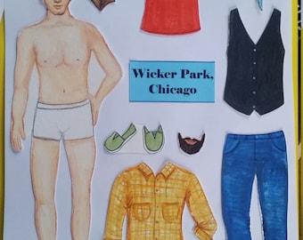 Wicker Park Guy 'Paper Doll' Magnet