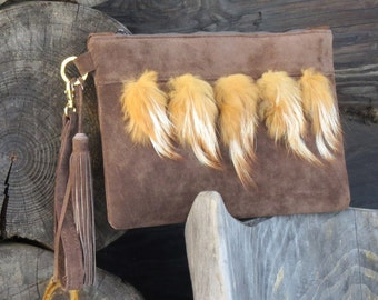 Leather clutch - Leather wristlet Suede bag Leather bag Brown leather bag Brown leather purse Clutch purse Clutch bag Evening clutch