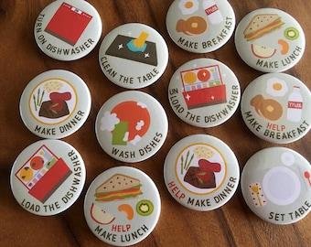 "KITCHEN Chore Magnets, SET A, 1 set = 12 magnets, size 1.25"" 32mm or 1.75"" 44mm, Cute chore magnets, Magnet set, Chore chart magnets"