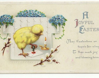Vintage Easter Chick Postcard W/ Sealing Wax: German Postcard