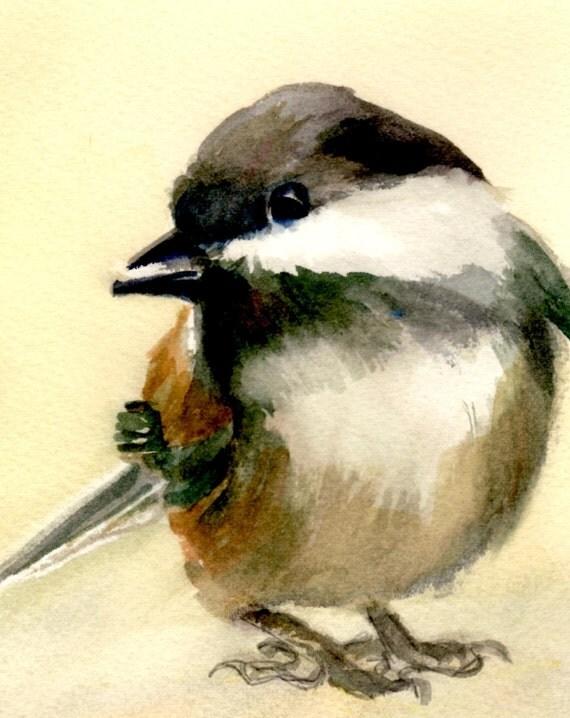 Chickadee  - signed print - watercolor - Bonnie White - black-capped chickadee - bird - birds - avian art