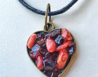 Garnet and red coral antique gold heart necklace
