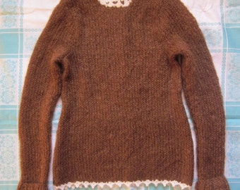 Hand knit elegant brown woman sweater for winter/autumn
