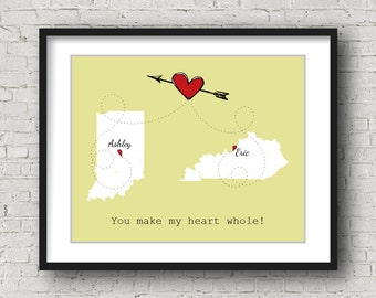 Long Distance Relationship Boyfriend Gift Long Distance, Anniversary Gifts for Boyfriend, Two States Love, Heart and Arrow, Custom Art Print