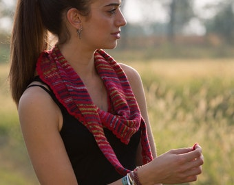 Knitted  scarf with stripes worked from side to side
