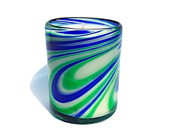 Hand Blown Recycled Glass Whirling Earth Cobalt Blue & Emerald Green Art Tumbler Vanilla Soy Candle