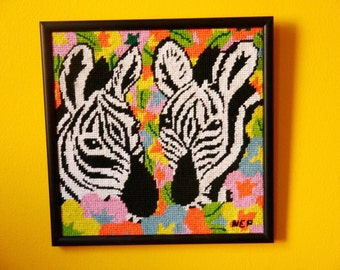 Framed Zebra and Flowers Needlepoint