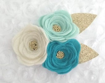 Mint- 3 flower headband