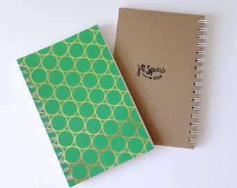 "Small Blank Page Wire Bound Notebook 5.5"" x 8.5"" - Green with Gold Foil Rings"