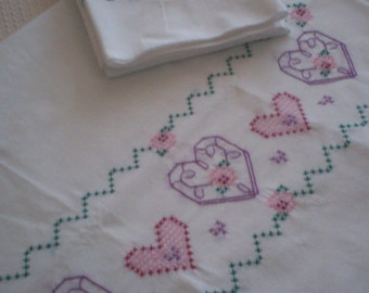 On Sale! Flowers in My Heart Hand Embroidered Pillowcase Set, Flowers in My Heart Pillowcase Set, Standard Size Pillowcase Set