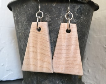 Curly Maple and Sterling Silver Earrings