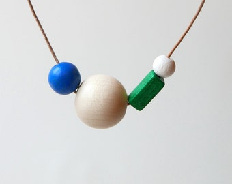 Blue & Green Wooden Bead Statement Necklace