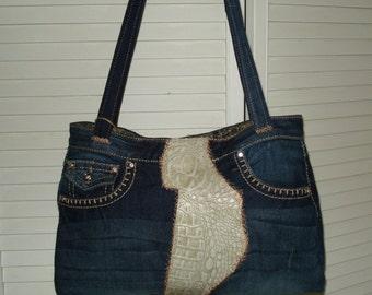 Denim & Leather Hand Bag