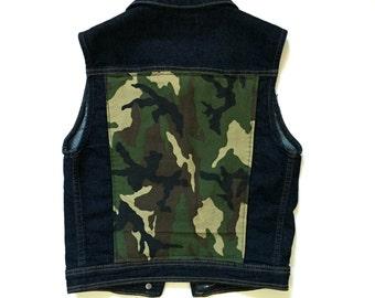 Girls' Camo Denim Vest - custom denim - camouflage print - army camo - studs - girls denim - Size 9/10