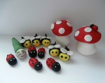 Edible sugar paste Toadstools,Bees,Ladybirds and caterpillar cake topper,cake decoration,boy,girl