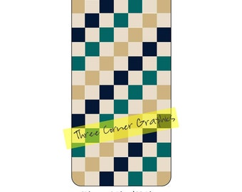 iPhone 6+ printable case design (natural Earth colors in checkerboard pattern); DIY print at home iPhone accessories for 6 Plus, 6S Plus