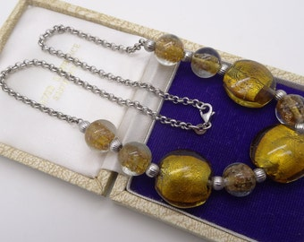 Italian Murano Gold Foil Glass Bead Necklace Sterling Silver chain Lovely quality