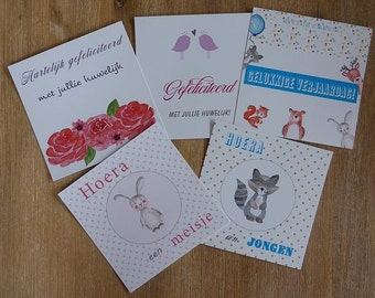 Set of 5 greeting cards (birth boy/girl, happy birthday, congratulations marriage) with coloured envelopes