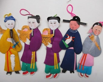 5 Chinese Mini Silk Handmade Dolls w/Real Hair Made In Peoples Republic of China