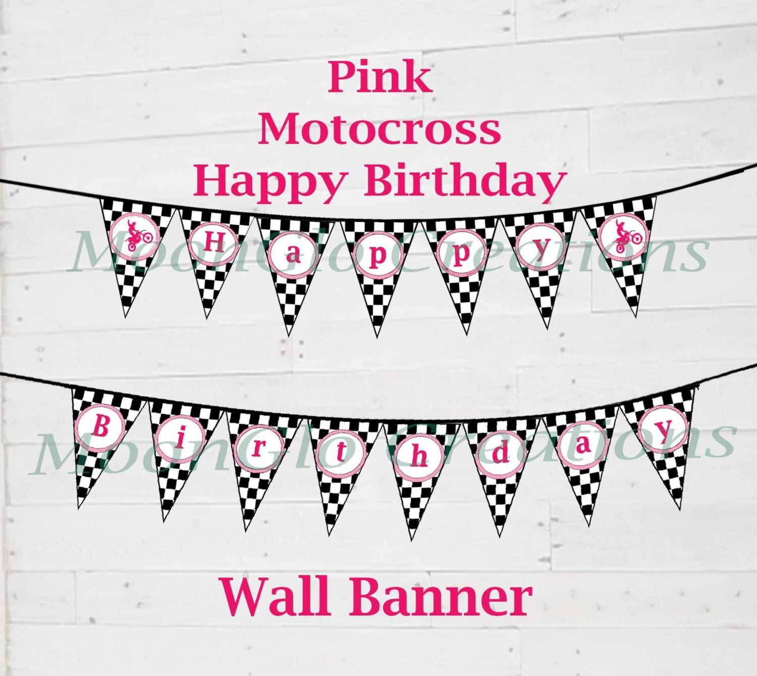 Motocross Theme 'Happy Birthday' Banner. Birthday