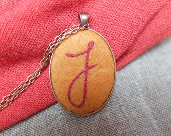 Hand Embroidered Initial Necklace.Letter Pendant.Personalized Necklace.Embroidery Initial. Monogram necklace. Letter Jewelry. Custom Initial