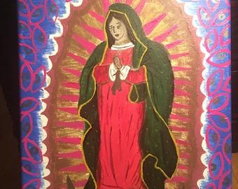"Virgin Mary 8""x10"" acrylic painting"