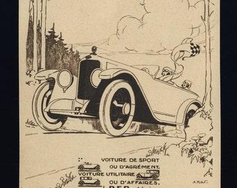 Original Vintage 1924 Art Deco Advert for DORIOT-FLANDRIN-PARANT Motor Cars (4 3/8'x6' - 11x15 cm)
