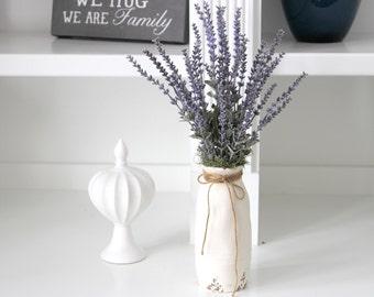 Farmhouse Decor, Rustic Floral Arrangement: Lavender in a Distressed Creamy White Milk Bottle